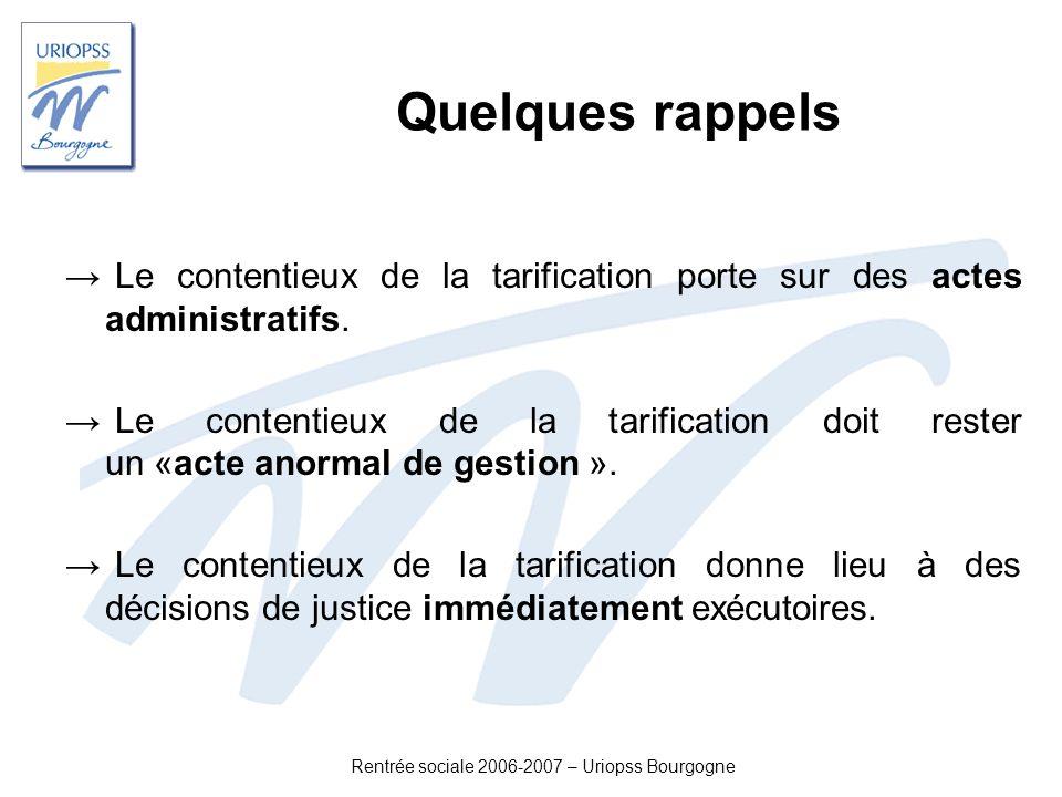 Rentrée sociale 2006-2007 – Uriopss Bourgogne Quelques rappels Le contentieux de la tarification porte sur des actes administratifs. Le contentieux de
