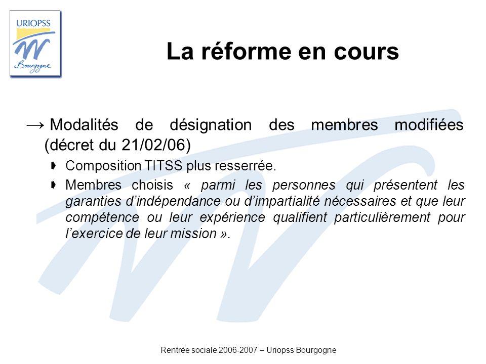 Rentrée sociale 2006-2007 – Uriopss Bourgogne La réforme en cours Modalités de désignation des membres modifiées (décret du 21/02/06) Composition TITS