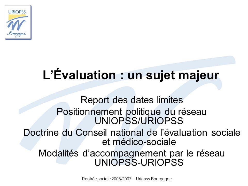 Rentrée sociale 2006-2007 – Uriopss Bourgogne LÉvaluation : un sujet majeur Report des dates limites Positionnement politique du réseau UNIOPSS/URIOPS