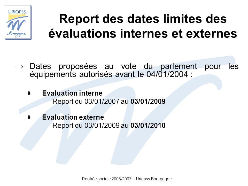 Rentrée sociale 2006-2007 – Uriopss Bourgogne Report des dates limites des évaluations internes et externes Dates proposées au vote du parlement pour