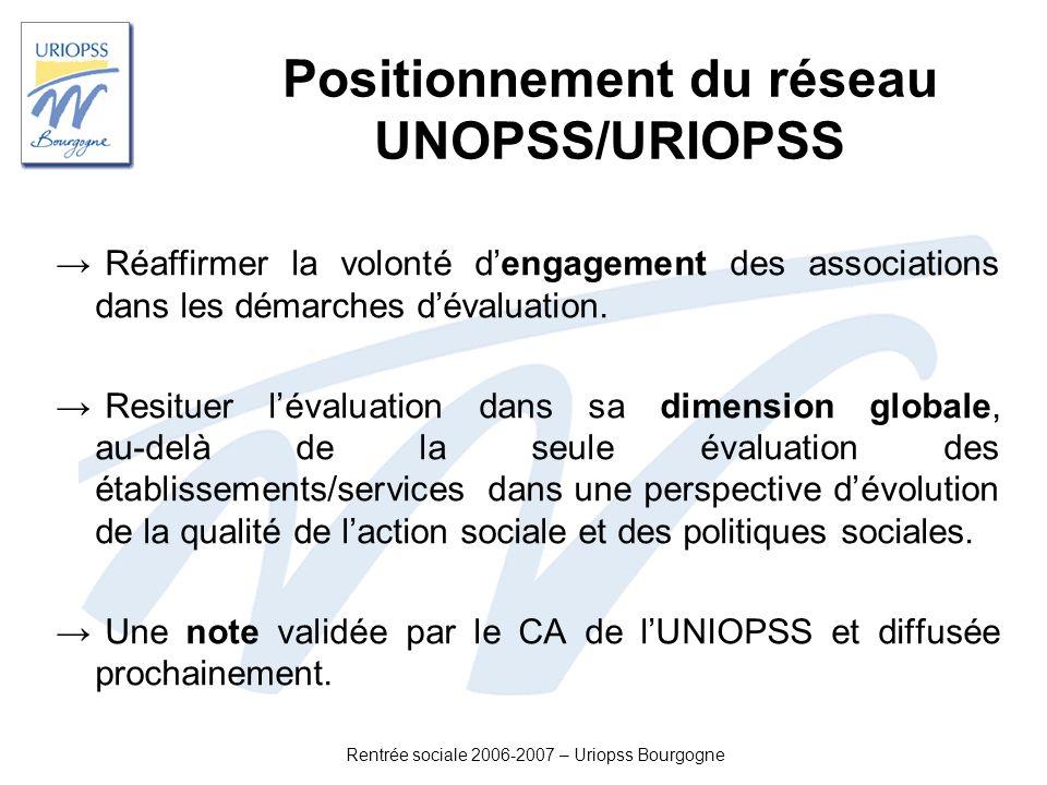 Rentrée sociale 2006-2007 – Uriopss Bourgogne Positionnement du réseau UNOPSS/URIOPSS Réaffirmer la volonté dengagement des associations dans les déma