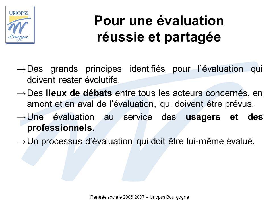Rentrée sociale 2006-2007 – Uriopss Bourgogne Pour une évaluation réussie et partagée Des grands principes identifiés pour lévaluation qui doivent res