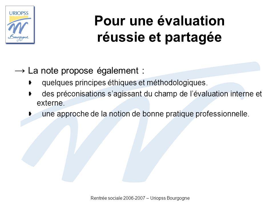 Rentrée sociale 2006-2007 – Uriopss Bourgogne Pour une évaluation réussie et partagée La note propose également : quelques principes éthiques et métho