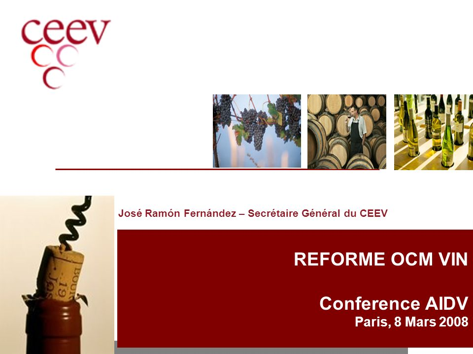 REFORME OCM VIN Conference AIDV Paris, 8 Mars 2008 José Ramón Fernández – Secrétaire Général du CEEV