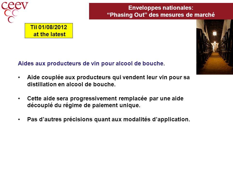 Aides aux producteurs de vin pour alcool de bouche.