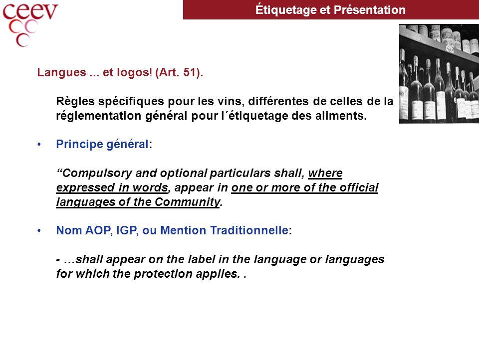 Langues... et logos. (Art. 51).