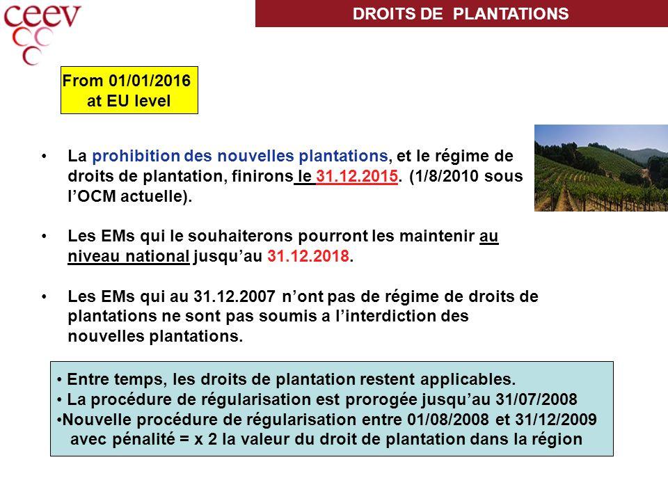 La prohibition des nouvelles plantations, et le régime de droits de plantation, finirons le 31.12.2015.