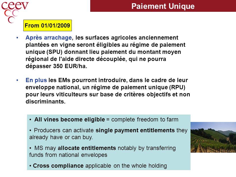 Après arrachage, les surfaces agricoles anciennement plantées en vigne seront éligibles au régime de paiement unique (SPU) donnant lieu paiement du montant moyen régional de l aide directe découplée, qui ne pourra dépasser 350 EUR/ha.