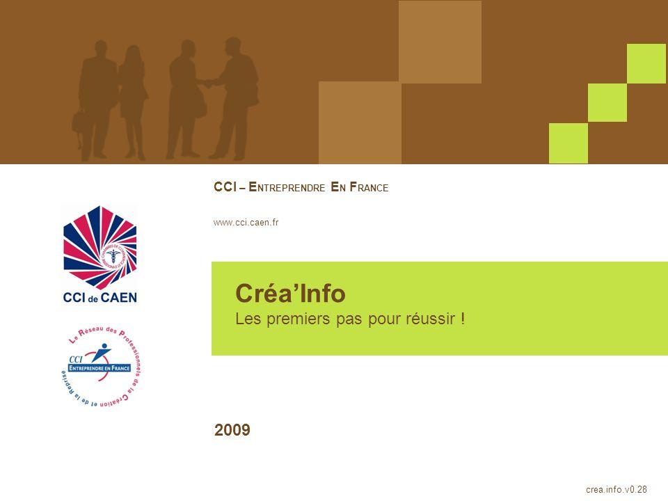CréaInfo Les premiers pas pour réussir ! CCI – E NTREPRENDRE E N F RANCE www.cci.caen.fr crea.info.v0.28 2009