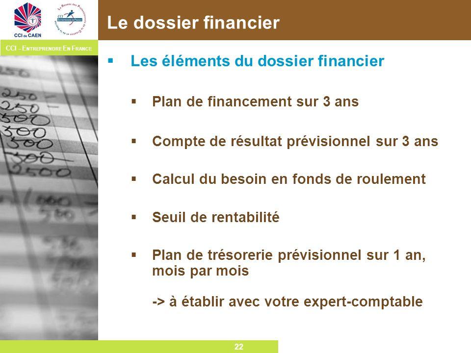 22 CCI – E NTREPRENDRE E N F RANCE 22 Le dossier financier Les éléments du dossier financier Plan de financement sur 3 ans Compte de résultat prévisio