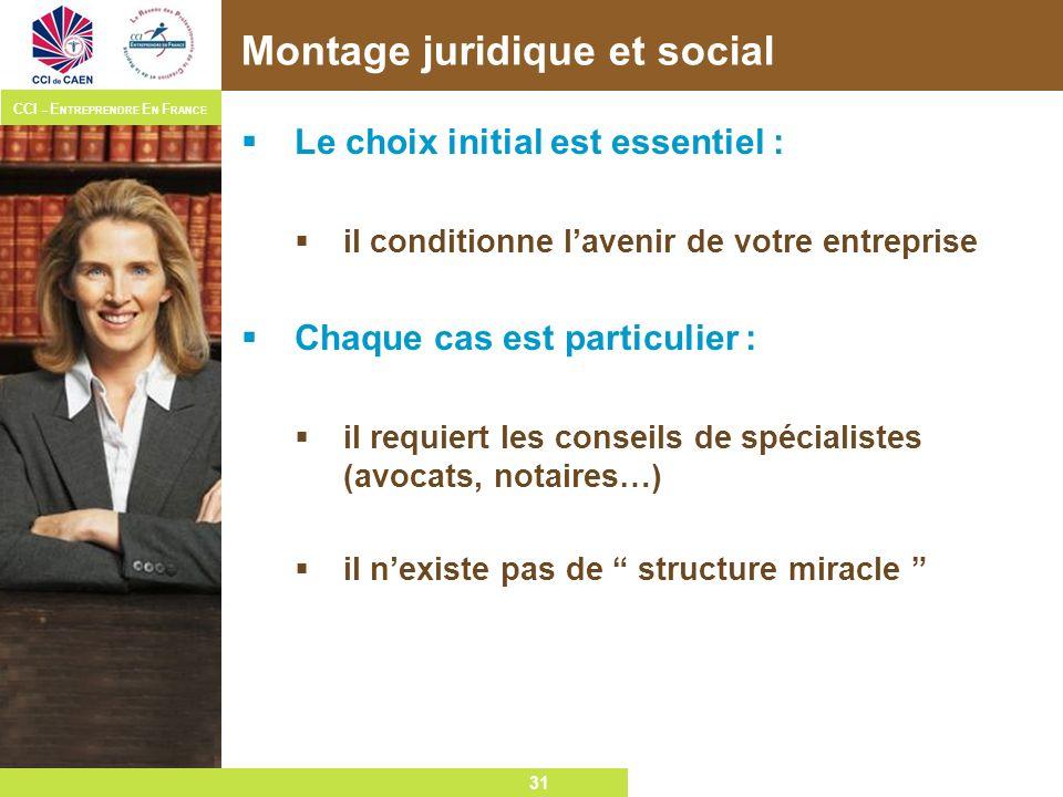 31 CCI – E NTREPRENDRE E N F RANCE 31 Montage juridique et social Le choix initial est essentiel : il conditionne lavenir de votre entreprise Chaque c