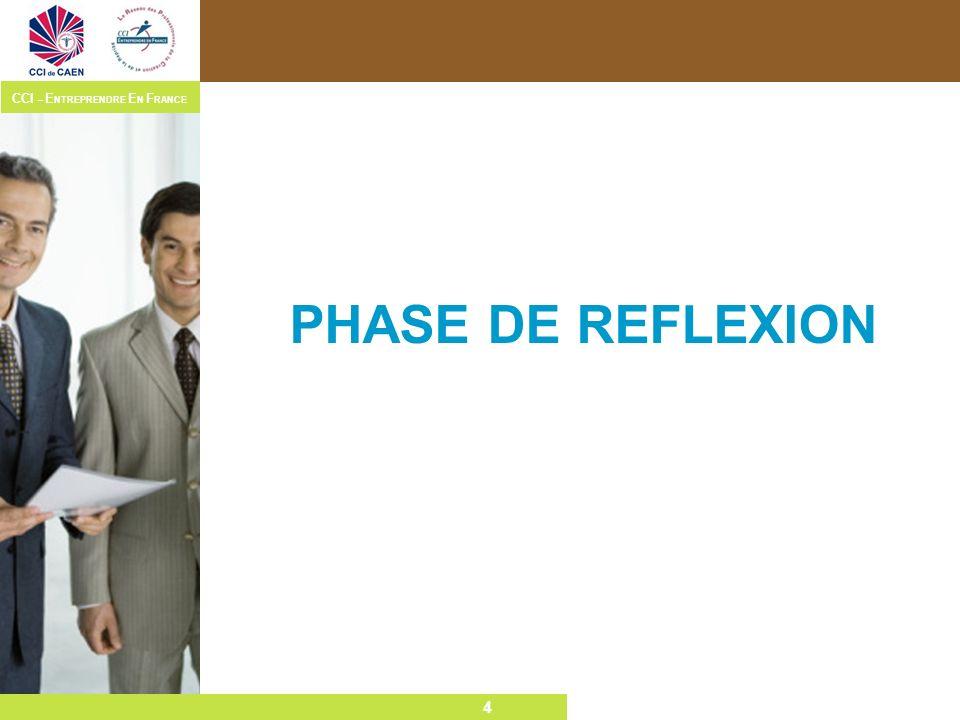 4 CCI – E NTREPRENDRE E N F RANCE 4 PHASE DE REFLEXION