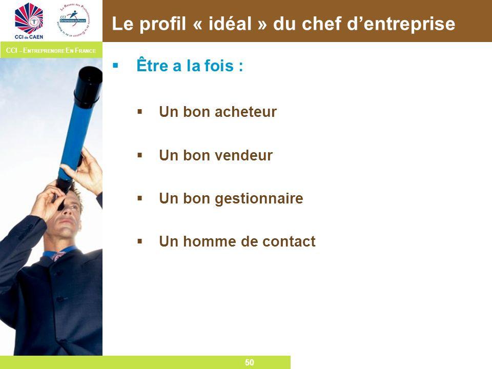 50 CCI – E NTREPRENDRE E N F RANCE 50 Le profil « idéal » du chef dentreprise Être a la fois : Un bon acheteur Un bon vendeur Un bon gestionnaire Un h