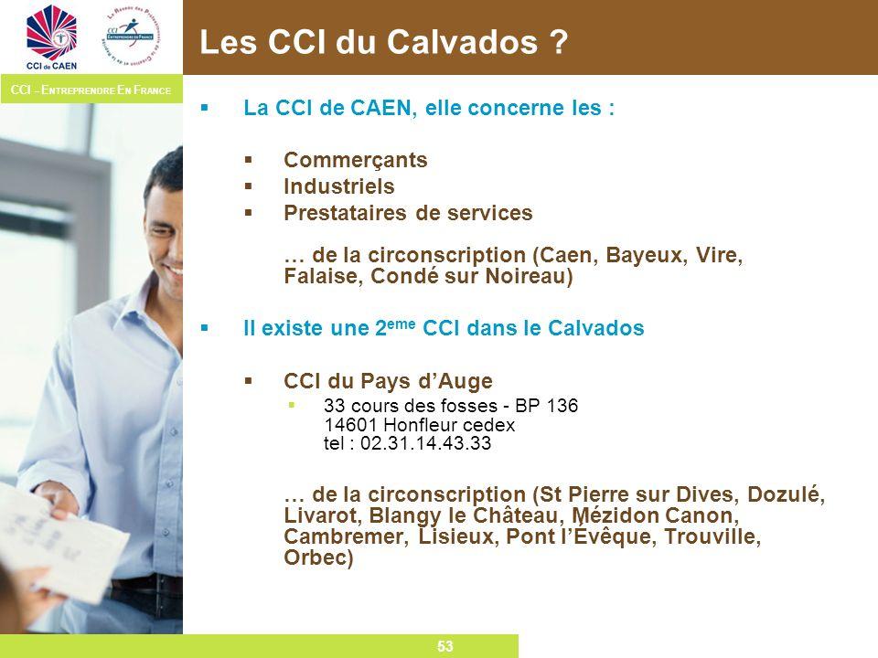 53 CCI – E NTREPRENDRE E N F RANCE 53 Les CCI du Calvados ? La CCI de CAEN, elle concerne les : Commerçants Industriels Prestataires de services … de