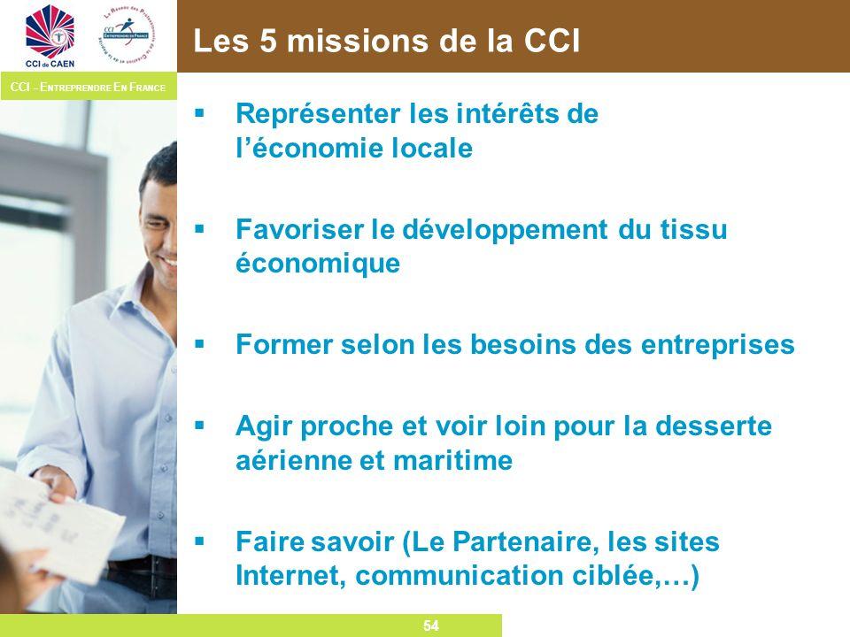 54 CCI – E NTREPRENDRE E N F RANCE 54 Les 5 missions de la CCI Représenter les intérêts de léconomie locale Favoriser le développement du tissu économ