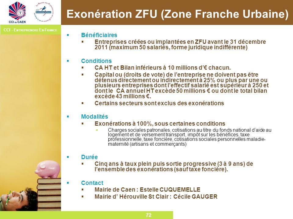 72 CCI – E NTREPRENDRE E N F RANCE 72 Exonération ZFU (Zone Franche Urbaine) Bénéficiaires Entreprises créées ou implantées en ZFU avant le 31 décembr