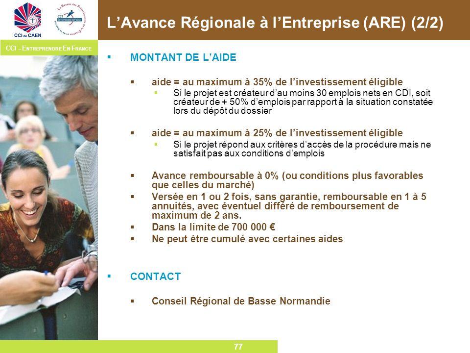 77 CCI – E NTREPRENDRE E N F RANCE 77 LAvance Régionale à lEntreprise (ARE) (2/2) MONTANT DE LAIDE aide = au maximum à 35% de linvestissement éligible