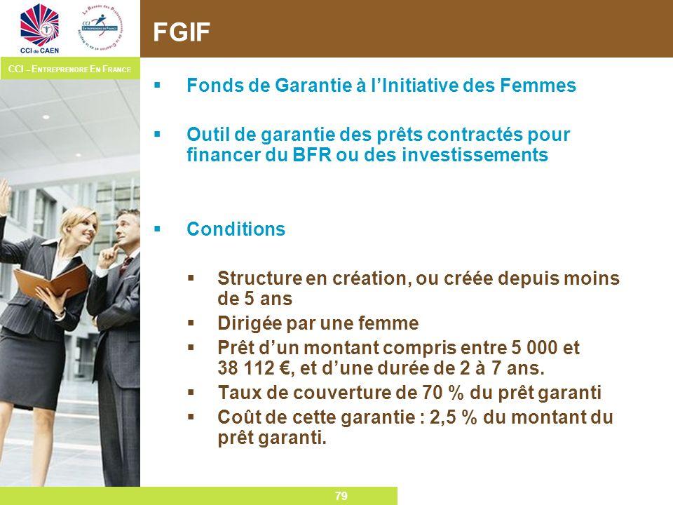 79 CCI – E NTREPRENDRE E N F RANCE 79 FGIF Fonds de Garantie à lInitiative des Femmes Outil de garantie des prêts contractés pour financer du BFR ou d