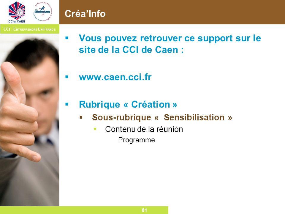 81 CCI – E NTREPRENDRE E N F RANCE 81 CréaInfo Vous pouvez retrouver ce support sur le site de la CCI de Caen : www.caen.cci.fr Rubrique « Création »