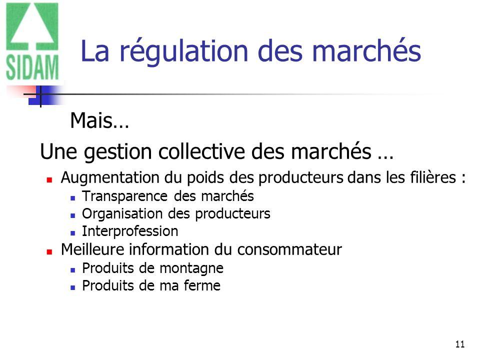 11 La régulation des marchés Mais… Une gestion collective des marchés … Augmentation du poids des producteurs dans les filières : Transparence des mar