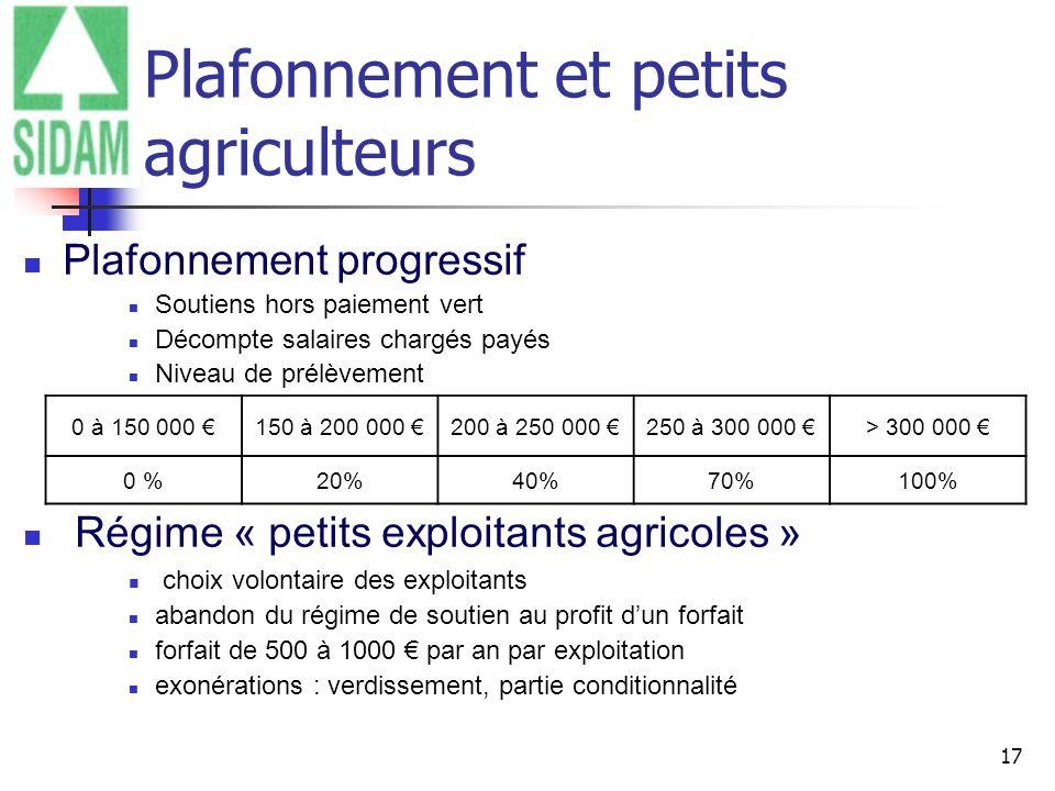 17 Plafonnement et petits agriculteurs Plafonnement progressif Soutiens hors paiement vert Décompte salaires chargés payés Niveau de prélèvement Régim