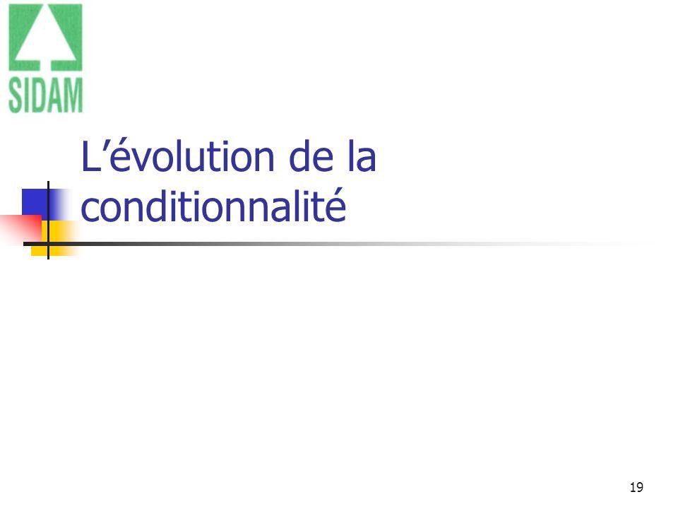 19 Lévolution de la conditionnalité