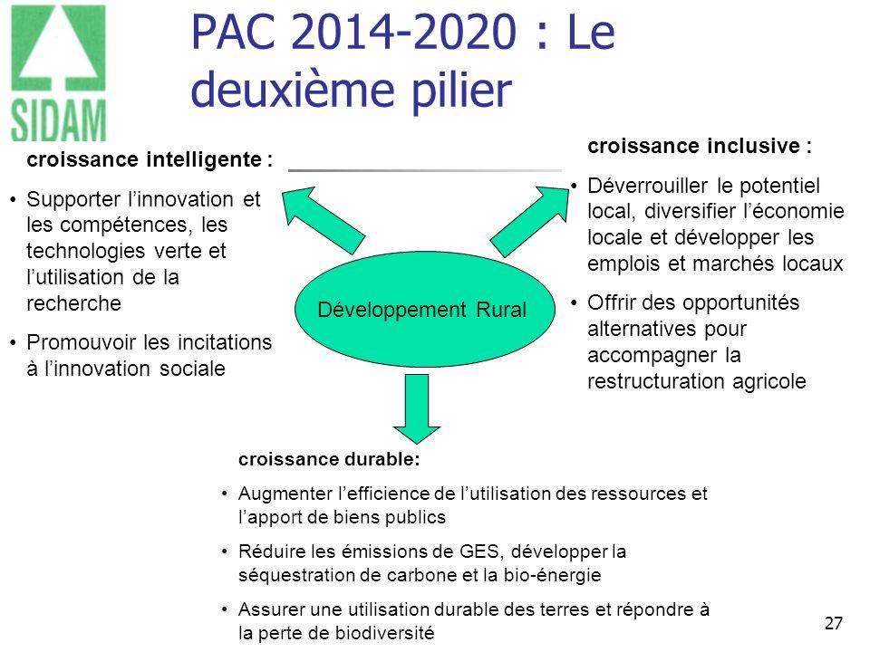27 PAC 2014-2020 : Le deuxième pilier Les éleveurs de races à viande du grand Massif central Développement Rural croissance intelligente : Supporter l