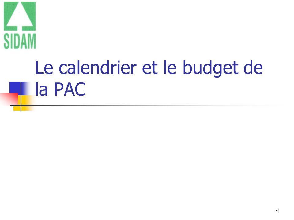 4 Mars 2012 Le calendrier et le budget de la PAC