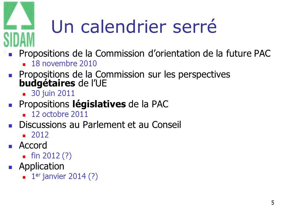 5 Un calendrier serré Propositions de la Commission dorientation de la future PAC 18 novembre 2010 Propositions de la Commission sur les perspectives