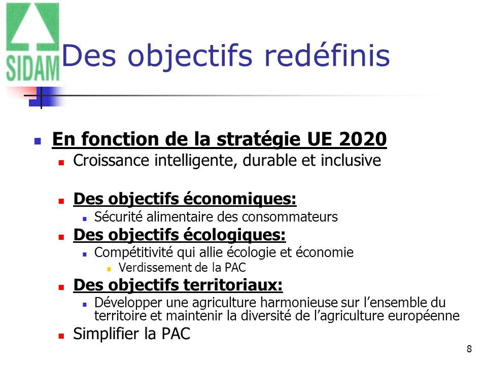 8 Des objectifs redéfinis En fonction de la stratégie UE 2020 Croissance intelligente, durable et inclusive Des objectifs économiques: Sécurité alimen