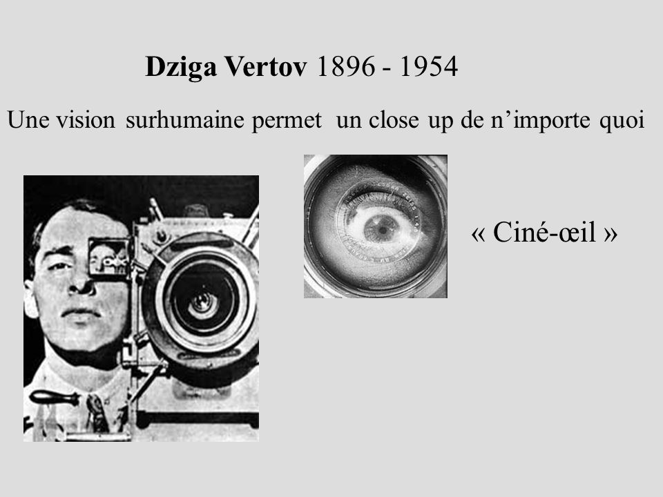 Dziga Vertov 1896 - 1954 Une vision surhumaine permet un close up de nimporte quoi « Ciné-œil »
