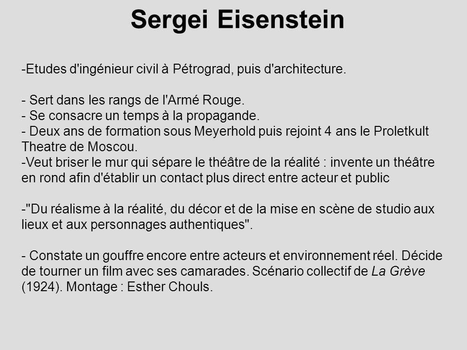 Sergei Eisenstein -Etudes d'ingénieur civil à Pétrograd, puis d'architecture. - Sert dans les rangs de l'Armé Rouge. - Se consacre un temps à la propa