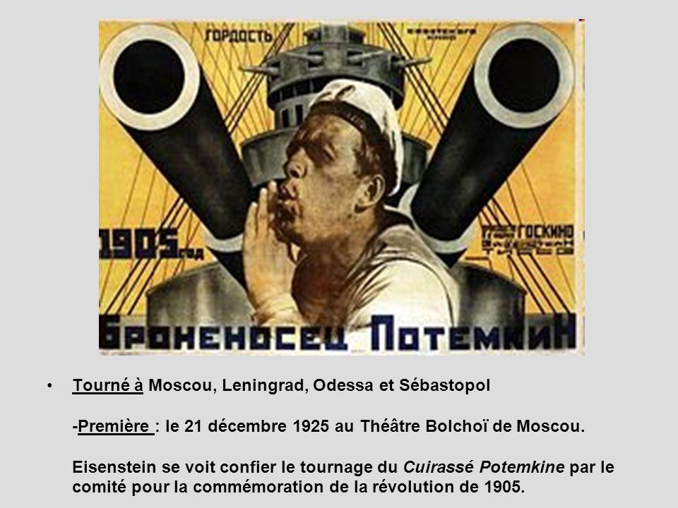 Tourné à Moscou, Leningrad, Odessa et Sébastopol -Première : le 21 décembre 1925 au Théâtre Bolchoï de Moscou. Eisenstein se voit confier le tournage