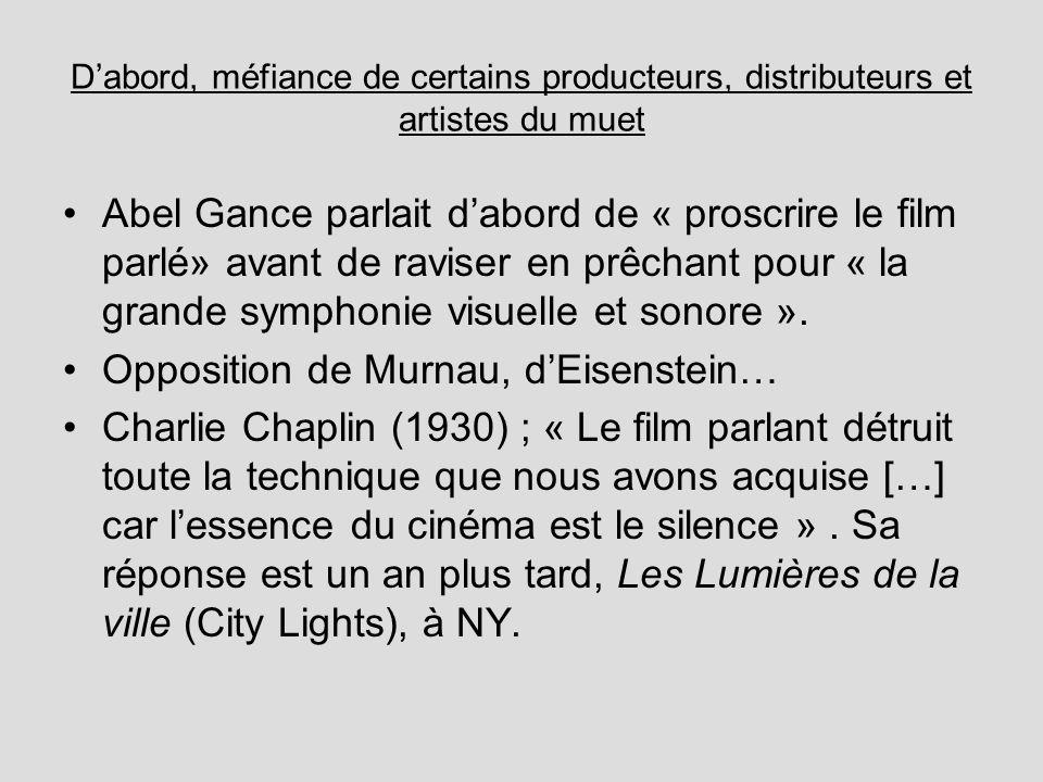 Dabord, méfiance de certains producteurs, distributeurs et artistes du muet Abel Gance parlait dabord de « proscrire le film parlé» avant de raviser en prêchant pour « la grande symphonie visuelle et sonore ».