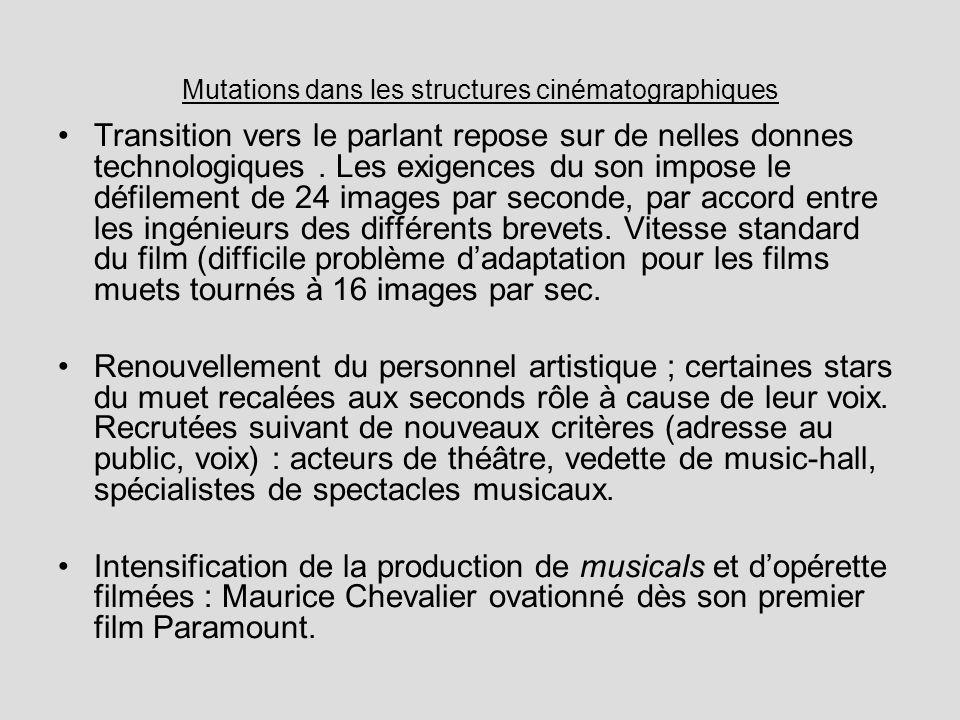 Mutations dans les structures cinématographiques Transition vers le parlant repose sur de nelles donnes technologiques. Les exigences du son impose le