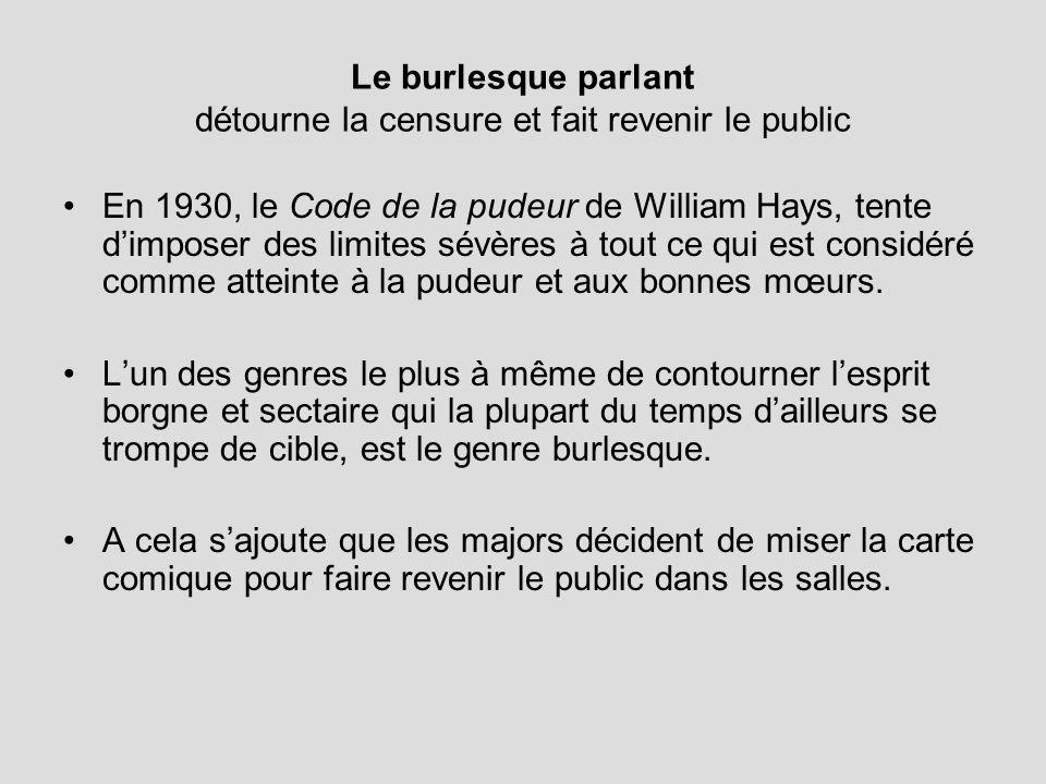 Le burlesque parlant détourne la censure et fait revenir le public En 1930, le Code de la pudeur de William Hays, tente dimposer des limites sévères à tout ce qui est considéré comme atteinte à la pudeur et aux bonnes mœurs.