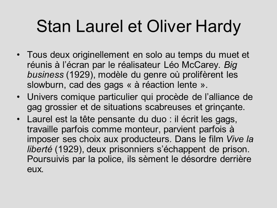 Stan Laurel et Oliver Hardy Tous deux originellement en solo au temps du muet et réunis à lécran par le réalisateur Léo McCarey.