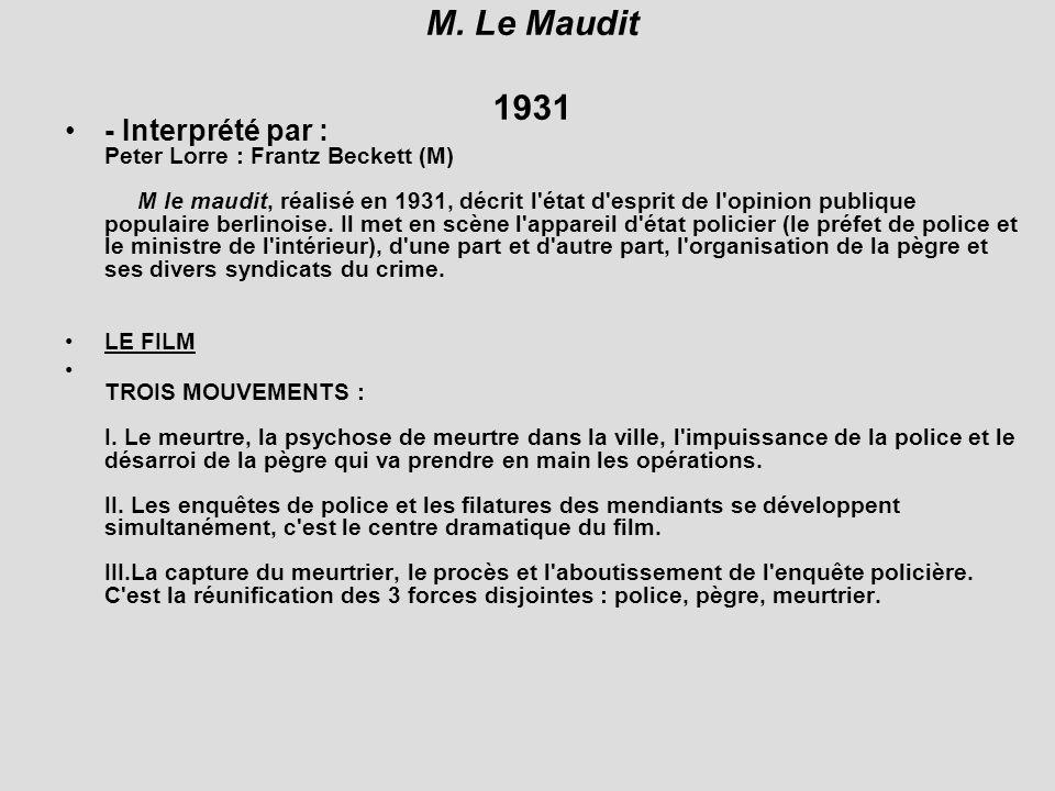 M. Le Maudit 1931 - Interprété par : Peter Lorre : Frantz Beckett (M) M le maudit, réalisé en 1931, décrit l'état d'esprit de l'opinion publique popul