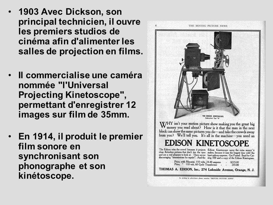 1903 Avec Dickson, son principal technicien, il ouvre les premiers studios de cinéma afin d'alimenter les salles de projection en films. Il commercial
