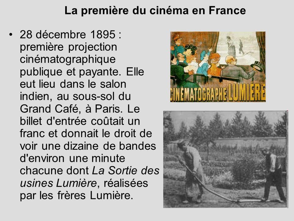 La première du cinéma en France 28 décembre 1895 : première projection cinématographique publique et payante. Elle eut lieu dans le salon indien, au s
