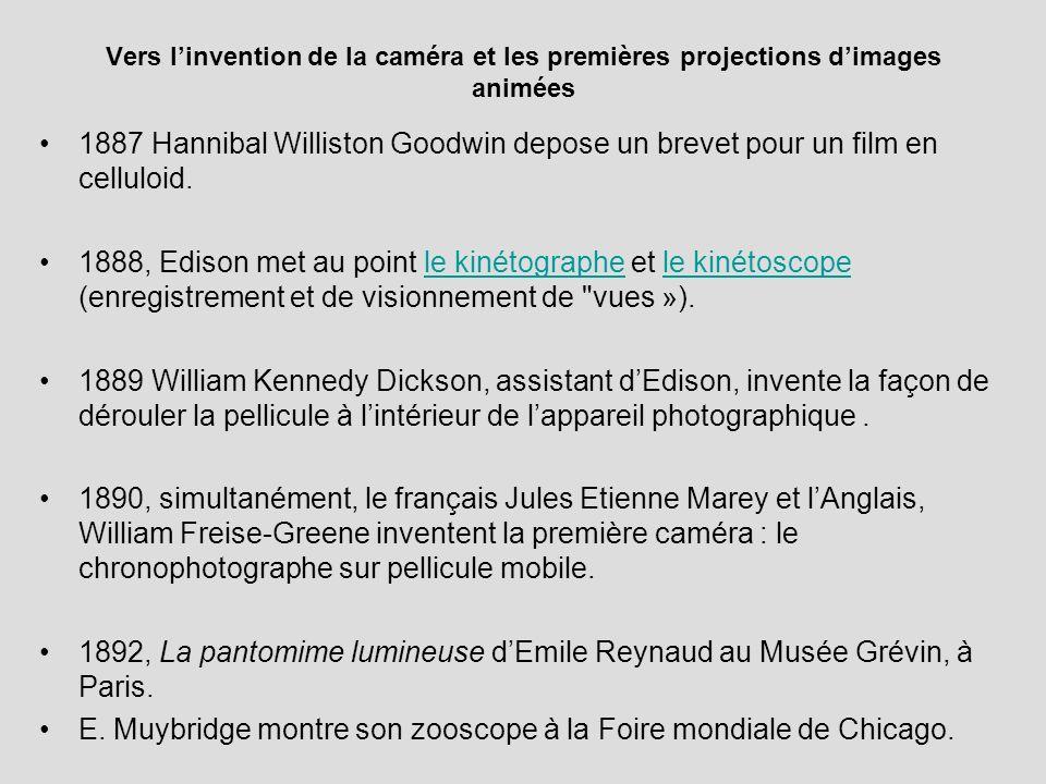 Vers linvention de la caméra et les premières projections dimages animées 1887 Hannibal Williston Goodwin depose un brevet pour un film en celluloid.