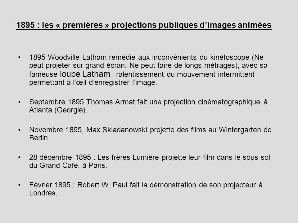 1895 : les « premières » projections publiques dimages animées 1895 Woodville Latham remédie aux inconvénients du kinétoscope (Ne peut projeter sur gr