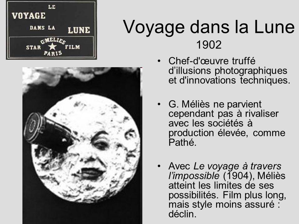 Voyage dans la Lune 1902 Chef-d'œuvre truffé dillusions photographiques et d'innovations techniques. G. Méliès ne parvient cependant pas à rivaliser a