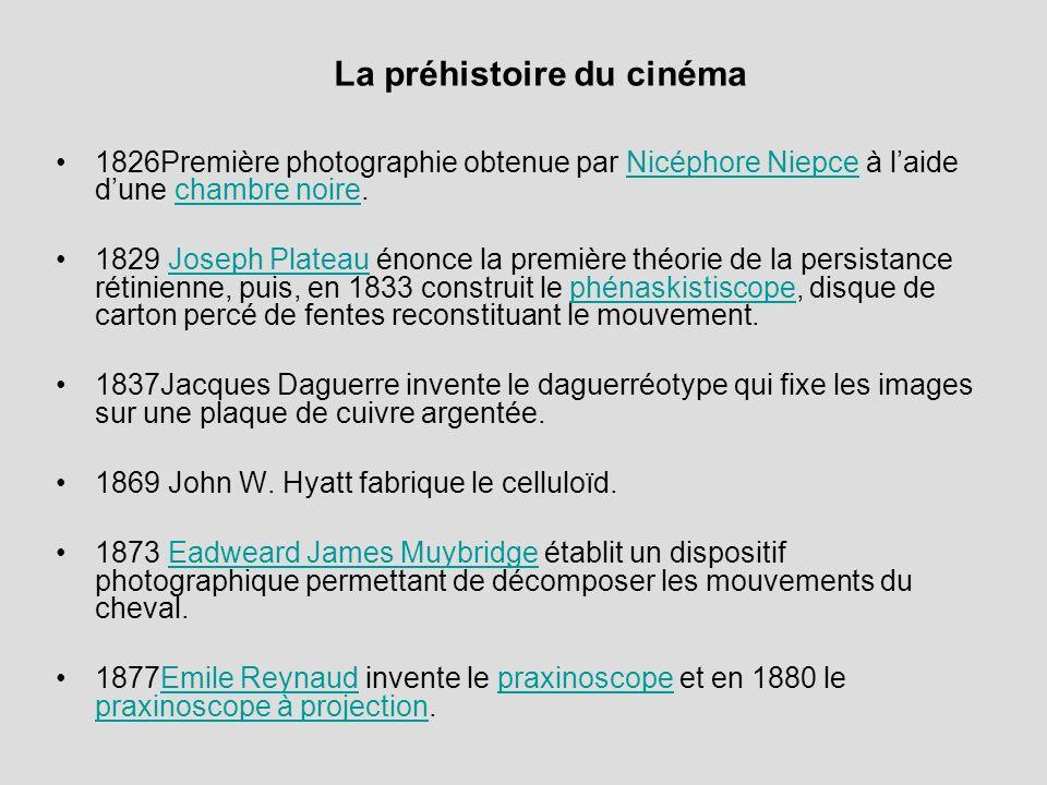 La préhistoire du cinéma 1826Première photographie obtenue par Nicéphore Niepce à laide dune chambre noire.Nicéphore Niepcechambre noire 1829 Joseph P