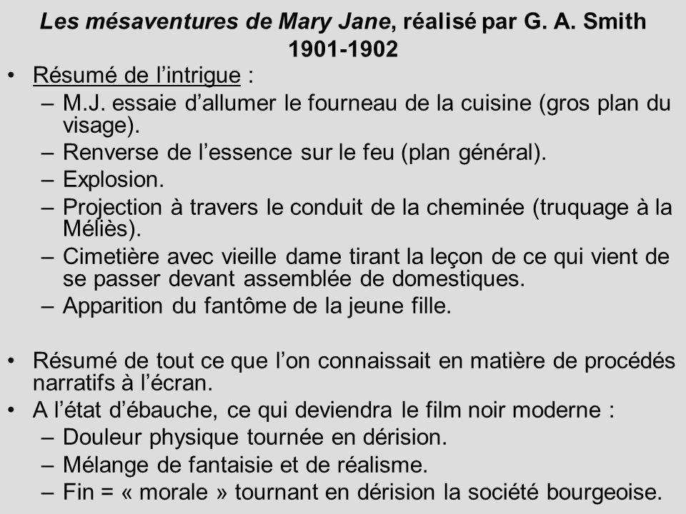 Les mésaventures de Mary Jane, réalisé par G. A. Smith 1901-1902 Résumé de lintrigue : –M.J. essaie dallumer le fourneau de la cuisine (gros plan du v