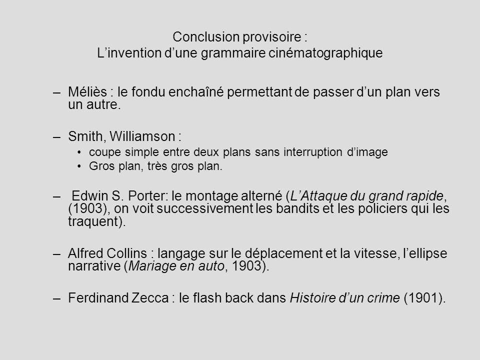 Conclusion provisoire : Linvention dune grammaire cinématographique –Méliès : le fondu enchaîné permettant de passer dun plan vers un autre. –Smith, W
