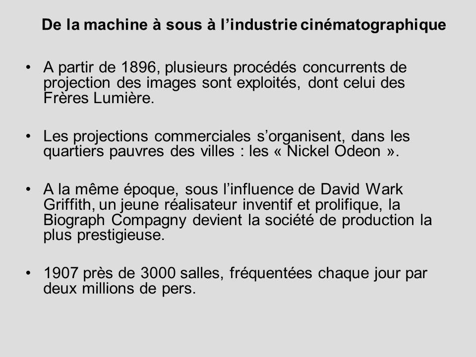 De la machine à sous à lindustrie cinématographique A partir de 1896, plusieurs procédés concurrents de projection des images sont exploités, dont cel