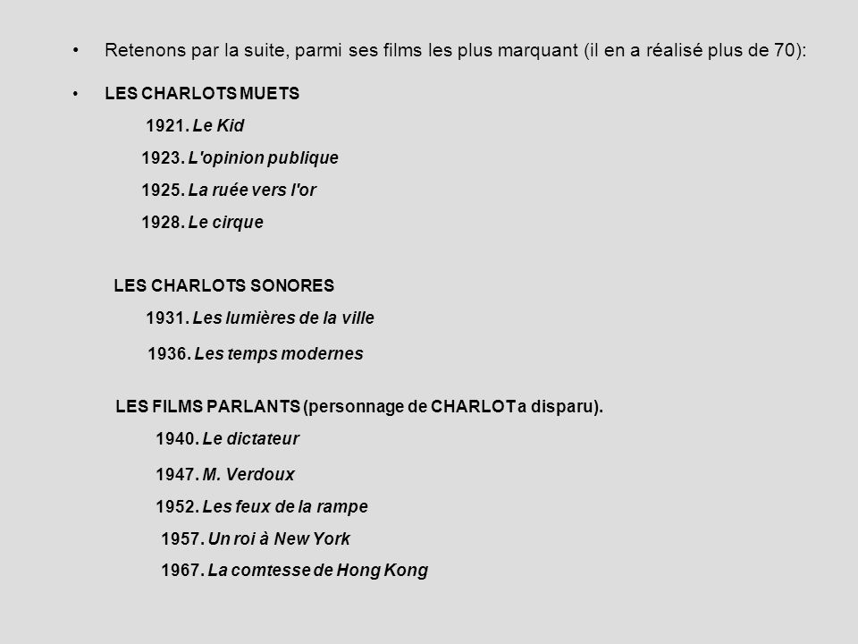 Retenons par la suite, parmi ses films les plus marquant (il en a réalisé plus de 70): LES CHARLOTS MUETS 1921. Le Kid 1923. L'opinion publique 1925.