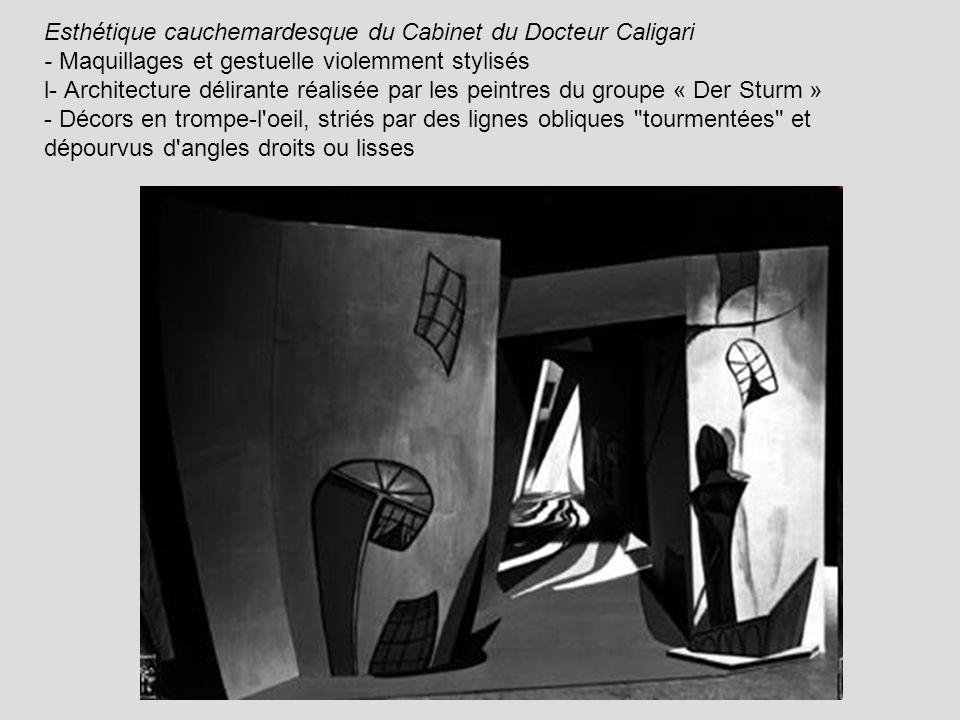 Esthétique cauchemardesque du Cabinet du Docteur Caligari - Maquillages et gestuelle violemment stylisés l- Architecture délirante réalisée par les pe