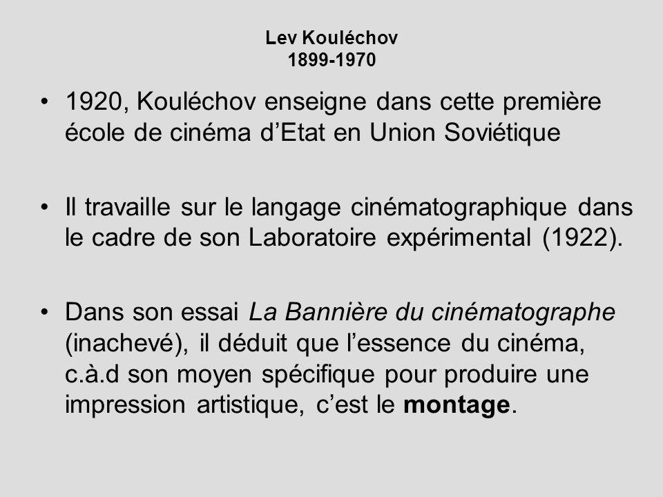 Lev Kouléchov 1899-1970 1920, Kouléchov enseigne dans cette première école de cinéma dEtat en Union Soviétique Il travaille sur le langage cinématographique dans le cadre de son Laboratoire expérimental (1922).